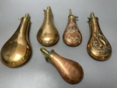 Five Victorian copper powder flasks, with brass mounts, largest 23cm