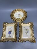 A pair of late Victorian watercolours of flower filled vases and another of a pheasant, framed,