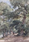 Thomas Churchyard (1798-1865)watercolour'Country Lane'inscribed Appleby Brothers label verso, Spring