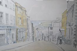 Robin Johnson, a stipple pencil and watercolour wash drawing of School Hill, Lewes as in 1905,