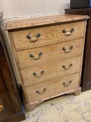 A small Georgian style stripped pine chest of drawers, width 64cm, depth 39cm, height 86cm