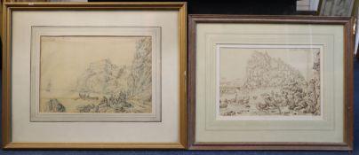 Antonio Senape (1788-1850)two ink on paper drawingsCastello di Provida and Castello di Padua?both