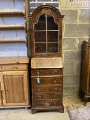 A small Queen Anne style burr yew bureau bookcase, width 48cm, depth 36cm, height 160cm
