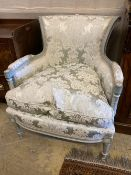 A Louis XV style grey and cream painted carved wood fauteuil, width 75cm, height 86cm
