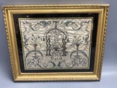 A Regency silk panel, embroidered with a bird cage and scrolling flowers and foliage, framed, 29 x
