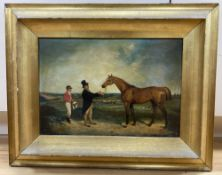English School, oil on canvas, Jockey, owner and horse in a landscape, 24 x 34cm