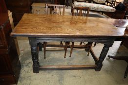A small 18th century style oak refectory dining table, width 152cm, depth 75cm, height 76cm
