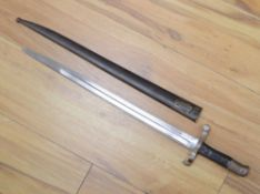 A Victorian Portuguese bayonet, by Steyr, dated 1886, blade 47cm, within sheath