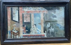 19th century Chinese School, reverse painted glass panel, Figures on a balcony, 24 x 45cm,