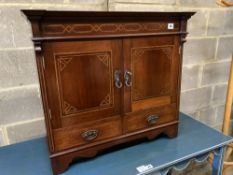 An Edwardian inlaid mahogany two door wall cabinet, width 72cm, depth 22cm, height 65cm