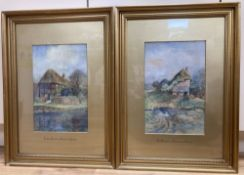 A.S. Dowes (c.1900), pair of watercolours, Old cottage at Nutbourne, Sussex and a Tudor cottage,