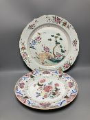 Two Chinese famille rose plates, Qianlong period, largest diameter 38cm