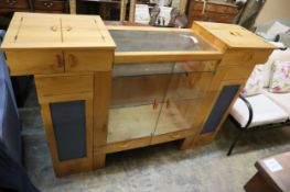A bespoke cherrywood and wych elm combined display/audio cabinet by John Wyndham, width 175cm, depth