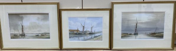 Alan Whitehead, three watercolours, Brick Wharves near Milton, Funton Moorings and Evening by the