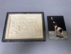 A Neapolitan pietra dura plaque, depicting a dog and a butterfly, 13 x 9cm and a moulded composition