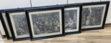 After William Hogarth, set of six engravings, The Harlot's Progress, overall 37 x 44cm