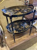 A black and gold japanned two tier toleware tray table, width 48cm, depth 36cm, height 57cm