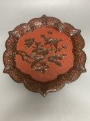 A Chinese carved cinnabar lacquer dish, early 20th century, 33.5cm