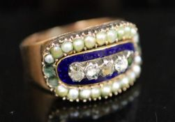 A Georgian gold, enamel, split pearl and gem set cluster ring, size N/O, gross 4.3 grams.