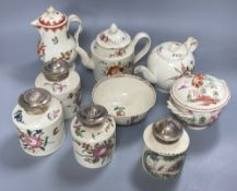 A collection of nine pieces of late 18th century creamware, including bullet-shaped teapot, 11cm
