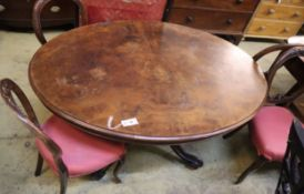 A Victorian oval burr walnut loo table, width 135cm, depth 99cm, height 73cm together with four