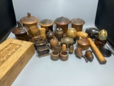 Five lignum vitae string dispensers, other treen ornaments, a parquetry box etc.