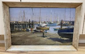 Deryck Foster (1924-2011), oil on board, Fishing boats in harbour, signed, 30 x 50cm