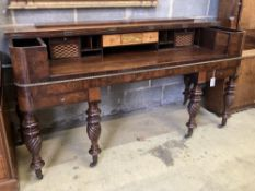 A Regency banded mahogany converted square piano, by Loud and Brothers, Philadelphia, width 174cm,