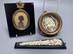 A Cantonese carved ivory basket of flowers, framed, Dieppe carved ivory applique panel and a