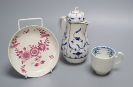 A Tournai covered jug and a similar coffee cup, c.1770 and a similar Zurich puce saucer, c.1775 (4),
