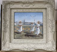 Joanna Bryan, oil on board, 'Day out by the Palace Pier', signed, 24 x 26cm