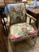 Two Louis XVI style cream painted carved wood fauteuils