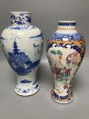 A Chinese 'Mandarin' vases, Qianlong period and a late 19th century Chinese blue and white vase,