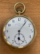 An 18ct gold open face keyless pocket watch, circa 1900, Thomas Russell & Son, No. 94430, with