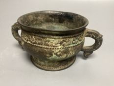 An 18th century Chinese archaistic bronze two handled censer, 16.5cm handle to handle
