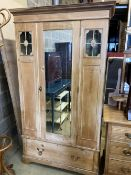 An Edwardian pine mirrored wardrobe, width 110cm, depth 54cm, height 198cm, together with a late