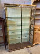 A gilt brass and plate glass collector's display cabinet, width 102cm, depth 33cm, height 162cm