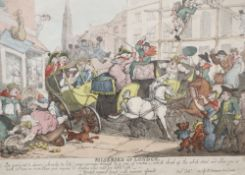 After Rowlandson, coloured engravings, Miseries of London, 26 x 35.5cm
