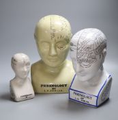 Three reproduction phrenology ceramic heads, by L.M. Fowler, tallest 29cmCONDITION: Good condition