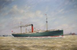 Max Parsons A.R.C.A. (1915-1998), steamship off the coast, oil on board, gilt frame, 39 x 59cm