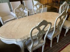 A Louis XV-style cream painted dining table, width 204cm, depth 90cm, height 76cm and six chairs