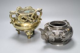 A Chinese bronze tripod censer, height 16cm, and a Chinese pewter-mounted Yixing pottery teapot,