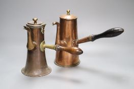 Two 18th century copper Tavern coffee pots, tallest 20cmCONDITION: Smaller pot - hinged cover