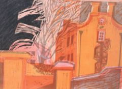 J. Spencer, linocut, View of terraced houses, signed and numbered 11/12, 35 x 48cm