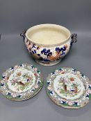 A set of six early 19th century Masons Ironstone dessert dishes and an ironstone tureen base (7)