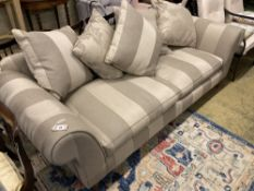 A large contemporary scroll arm sofa, length 240cm, depth 100cm, height 74cm