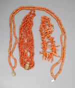 Three assorted coral necklaces including bead and fragment, with gilt metal clasps, longest 62cm,