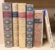 Five leather bound books and a Stuart Boyle novel 'The Loved One'