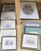 A collection of eleven assorted 19th century engravings and drawings, Views in and around Lewes,