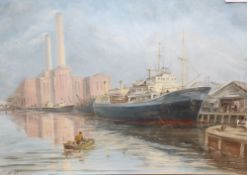 Max Parsons A.R.C.A. (1915-1998), the cargo ship 'Rynstroom' moored off Shoreham Power Station,